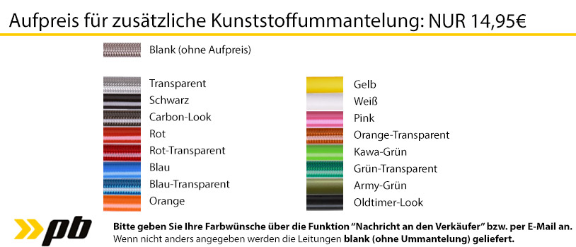 Aufpreise für farbige Kunststoffummantelung für PKW Stahlflex Bremsleitungen