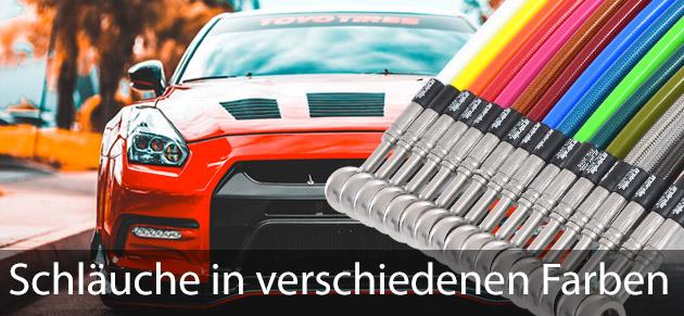 Stahlflexschläuche in verschiedenen Farben für Tuning, Muscle Cars, Hot Rods und alle die auffallen wollen.